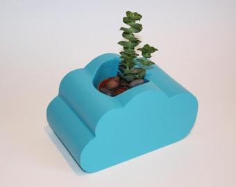 Cloud shaped wooden planter