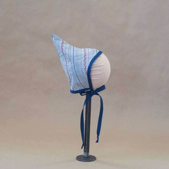 Pixie Bonnet // The Luci // Blue with embroidered flowers