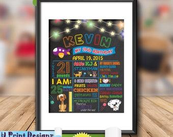 Kids Birthday Chalkboard, 2nd Birthday Poster Sign, Child's Birthday Gift Chalkboard - Personalized Digital Printable File