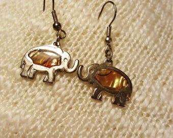 Cute little elephant earrings with abalone