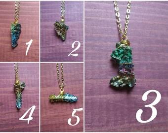 Bismuth Crystal Necklace - Bismuth Jewelry - Wire Wrapped Bismuth Crystal Necklace - Bismuth Necklace - Bismuth Necklaces - Bismuth