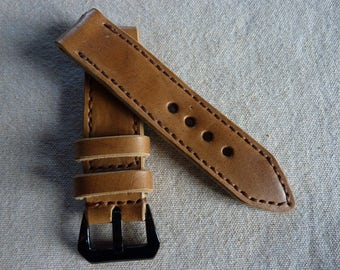 Bracelet Watch brown leather 24/24 - Handmade watch strap ammo pouch