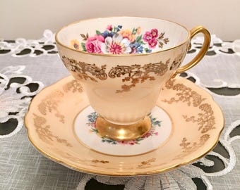 Vintage  E. B. Foley Teacup and Saucer #4615 #4  - Bone China gold brushed filigree and floral 1950s
