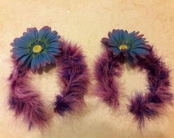 Blue & Purple Marabou Hairband