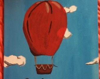 Escape the Ordinary Hot Air Balloon Wall Art, 14x18 Canvas Acryllic Painting, Home Decor