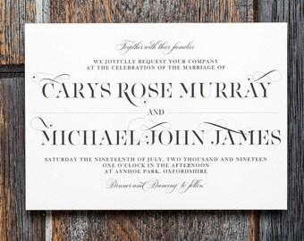 Calligraphy invite, typography invite, wedding invitation, printable invitation, modern wedding, custom, personalized invite, modern