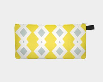 Vintage Yellow and Grey Diamonds Polytwill Canvas Pouch | Pencil Case | Makeup Bag