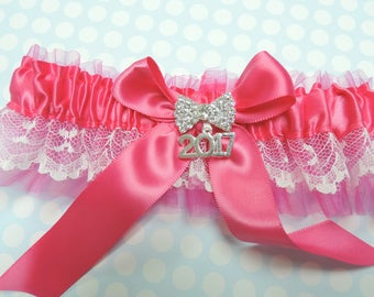 Prom garter in shocking pink,  Prom garters