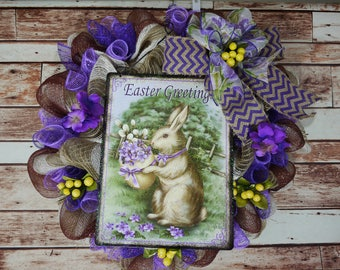 Free Shipping, Easter Bunny Wreath, Easter Wreath, Spring Wreath, Spring and Easter Deco Mesh Wreath, Mother's Day Wreath, Purple Wreath