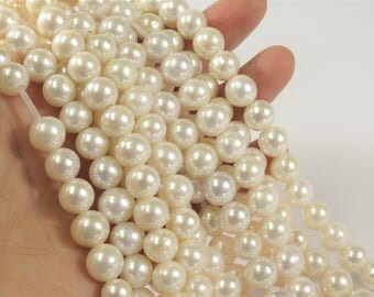 10 mm Half Strand Extra Shiny Large Hole Natural White Round Freshwater Pearl Beads 2mm Hole, High Luster White Genuine Pearls (231-LHRW10)