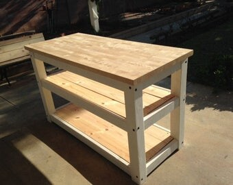 Two Full Shelves Kitchen Island Butcher Block Table Top In Multiple Lengths Country