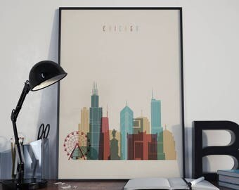 Chicago Art Chicago Watercolor Chicago Multicolor Chicago Wall Art Chicago Wall Decor Chicago Home Decor Chicago City Chicago Skyline Poster