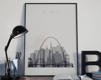 Saint Louis Art Watercolor Saint Louis Wall Art Multicolor Saint Louis Skyline Wall Decor Saint Louis Poster Home Decor Saint Louis Print