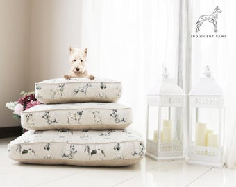 Dog Bed in Dog Print Fabric - Dog Pillow