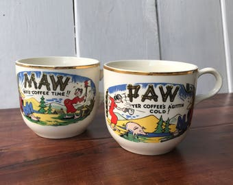 Vintage Maw and Paw Country Coffee Mugs