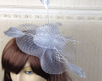silver feather fascinator millinery burlesque headband wedding hat hair piece