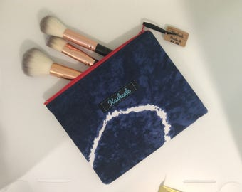 Passport Zipper Pouch, Small Make Up Bag, Cosmetic Bag, Travel Pouch, Cell phone Zipper Pouch, Gift for Her, Gift For Him, Navy Tie Dye.