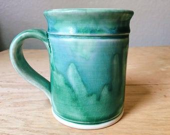 Vintage Green Drip Ware Ceramic Mug