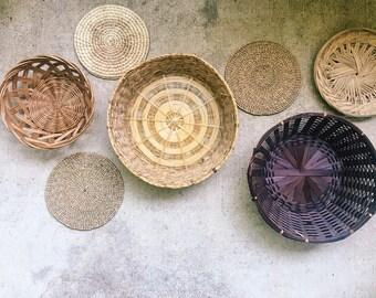 Vintage Bohemian Wall Baskets, Set of 7