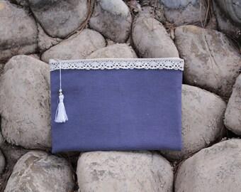 Blue handbag with tulle