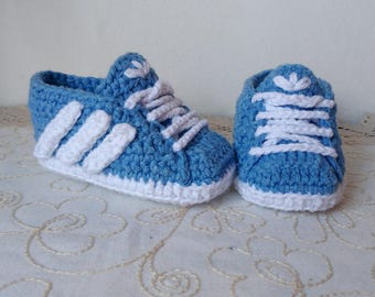Bambas crochet style Adidas baby 0-3 months