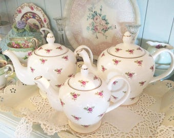 Small, Medium or Large~Vintage inspired pink DITSY ROSE bone china TEAPOT