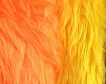"Orange Yellow Faux Long Pile Fur Fabric Toys Costumes Width 59"" (150 cm)"