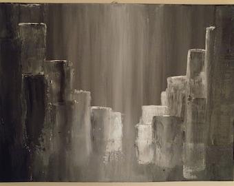 ORIGINAL ACRYLIC ABSTRACT Rainy Cityscape Painting
