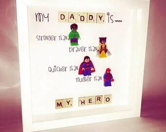 Daddy my hero' Lego figurine frame