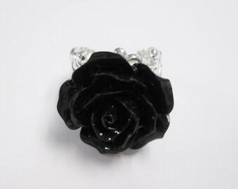 Black rose adjustable ring silver filigree ring resin flower ring summer ring gift for her