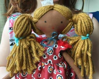 doll, art doll, keepsake doll, cloth doll, fabric doll, handmade doll, natural fiber doll