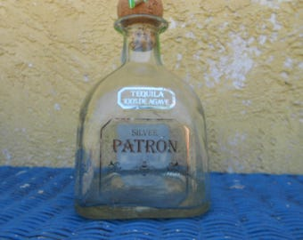 Empty Patron Silver Bottle Glass Supplies Upcycle  Raw Materials Bottle Lamp Bottle Soap Dispenser Glass Fusing