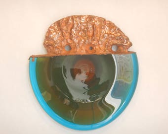 """Electroplated sand blasted hand blown glass wall art """"Earth and Stone"""""""