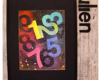 """Spray Painting On Thick Paper - """"123..."""" - 57x61cm - (Frame Mount NOT included)"""