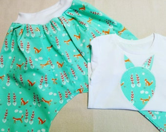 Fox Harem Pants and T-Shirt Set/ 3-4 years Harem Pants with matching T-Shirt/Orange Fox Harem Pants and Top