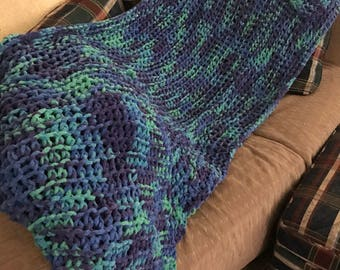 Blue green purple throw hand knitted