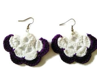 Purple crochet earrings,flower earrings,jewelry gift