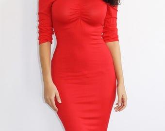 Sweetheart Midi Bodycon Dress