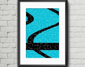 Black & Blue Tiles I - Art Print