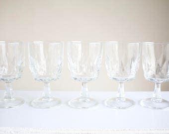 Vintage Clear Glass Goblets - Set of 5