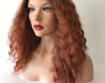 Ombre' Copper Swiss 4x4  Human Hair Blend Multi Parting Lace Front Wig -' 41724