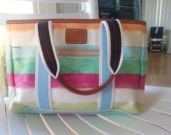 Coach small tote Hampton multicolor stripe Like New Condition