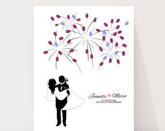 "wedding fingerprint tree guestbook wedding confirmation ""Fireworks new"" on canvas"