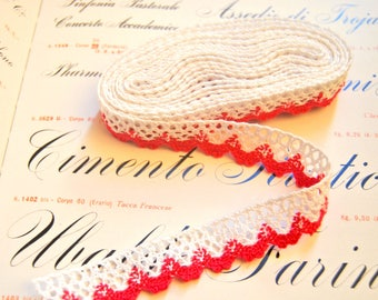 3 yards fushia and white trim lace 20mm - coton lace for decorating or sewing, vintage looking lace