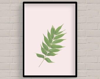 Botanical wall art printable, leaf wall print, Digital wall art, minimal art printable home decor, pink art printable, nature art print