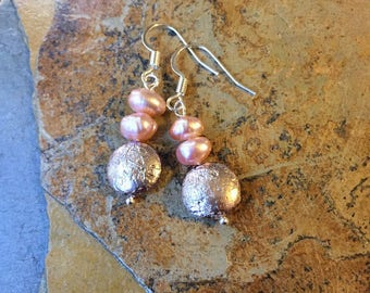 Pink Pearl and Silver Bridesmaid Earrings