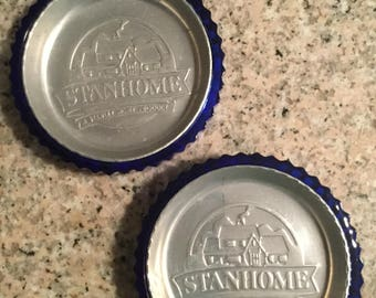 StanHome cobalt blue coasters with aluminum insert, set of 2