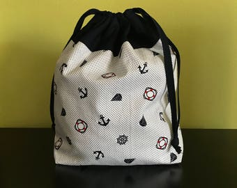 Handmade drawstring bag / pouch for knitting crochet project 24x17.5x7.5cm *Go Sailing 2*