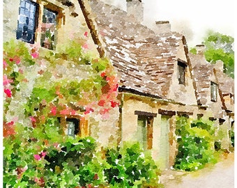 Cotswolds England Watercolour Painting Postcard Poster Art Print Q148