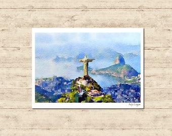 Jesus Rio de Janeiro Brazil Watercolour Painting Postcard Poster Art Print Q320